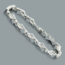 Sterling Silver Ladies Diamond Heart Bracelet 0.20ct