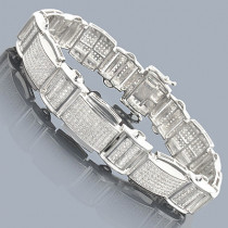 Sterling Silver Mens Diamond Bracelet 2.48ct