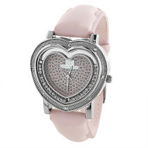 Super Techno Watches: Womens Heart Shaped Pink Watch 0.08ct