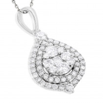 Teardrop Diamond Pendant for Women 1.25ct 14k Yellow Rose White Gold