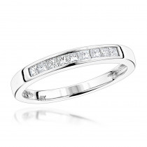 Thin 14K Gold Princess Cut Diamond Wedding Band for Women by Luxurman 0.35c