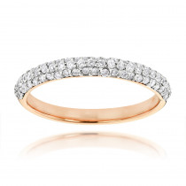 Thin 14K Gold Womens Pave Diamonds Band by Luxurman 0.6ct