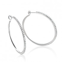 1 1/2 in Ladies Diamond Hoop Earrings 1.07ct 14K White Gold