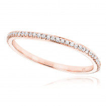 Ultra Thin Stackable Diamond Ring 0.15ct 14K Gold Curved Design