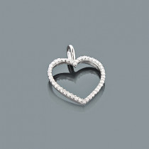Tiny Diamond Heart Pendant 0.17ct 10K Gold Charm