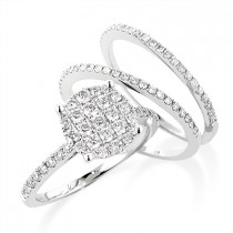 Trio Ring Sets: 14K Gold Diamond Wedding Ring Set 1.14ct