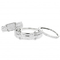 Trio Ring Sets: Diamond Bridal Set 10K 0.91ct