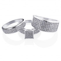 Trio Wedding Ring Sets: Diamond Ring Set 10K Gold 1.24ct