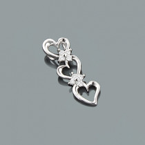 Triple Heart Diamond Pendant 0.10ct 10K Gold