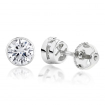 Two Carat 18K Gold Solitaire Round Diamond Bezel Stud Earrings