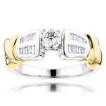 Affordable Two Tone 14K White Yellow Gold Diamond Engagement Ring 0.78ct