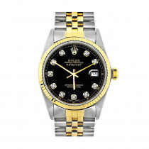 Two Tone Rolex Datejust Mens Diamond Watch 18K Gold & Stainless Steel