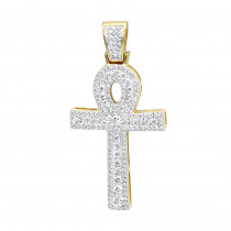 Unique 1 Carat Diamond Cross Pendant Egyptian Ankh Symbol of Life 14k Gold