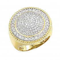 Unique 10K Gold 2 carat Large Diamond Ring for Men Round Shape by Luxurman