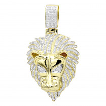 Unique 10K Gold Lion Head Diamond Pendant for Men 0.9ct by Luxurman