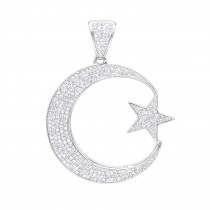 Unique 10K Gold Star and Crescent Moon Diamond Pendant 0.8ct by Luxurman