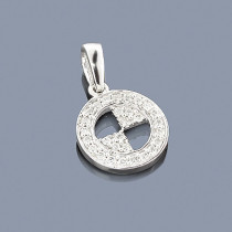 Unique 14K Gold BMW Diamond Circle Pendant 0.38ct