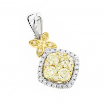 Unique 14K Gold Designer White Yellow Diamond Womens Pendant by Luxurman
