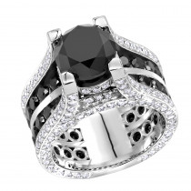 Unique 14K Gold Large White and Black Diamond Ring 12ct by Luxurman