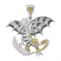 Unique 14K Gold White Yellow Blue Diamond Dragon Pendant for Men 4.25ct