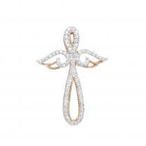 Unique 14k Gold Womens Diamond Cross Pendant with Angel Wings 0.25ct by Luxurman