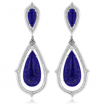 Unique 18K Gold Ladies Lazurite Diamond Drop Earrings 1.12ct