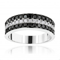 Unique 3 Row White Black Diamond Wedding Band 1.35ct 10K Gold Luxurman Ring