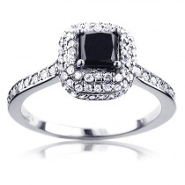 Unique White and Black Diamond Halo Engagement Ring 1ct 10K Gold