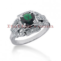 Unique Engagement Rings: Diamond and Emerald Ring 14K 0.21ctd 1cte
