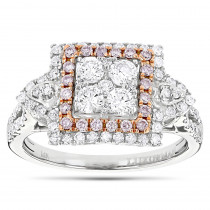 Unique Engagement Rings: Ladies White Pink Diamond Cluster Ring 14K Gold