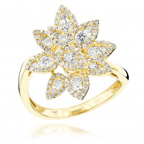 Unique Ladies Multi-Leaf Diamond Cocktail Ring 1.13ct