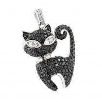 Unique Ladies Pendants: 14K Gold Black Kitty Cat Diamond Pendant 1.15ct