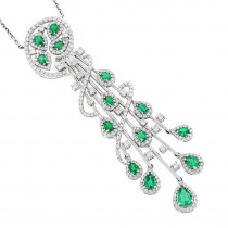 Unique Ladies Peridot Diamond Chandelier Teardrop Necklace in 18K Gold 3ct