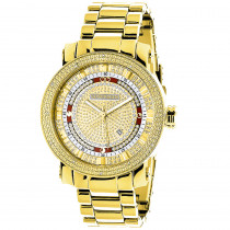 Unique Large Mens Diamond Watch 18k Yellow Gold Plated by Luxurman 0.12ct