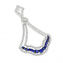 Unique Luxurman Diamond Blue Sapphire Diamond Pendant for Women
