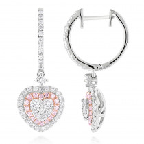 Unique Luxurman Drop Earrings White & Pink Diamond Heart Earrings 14k Gold