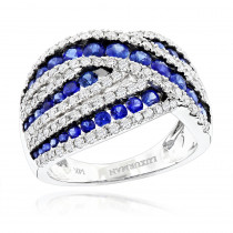 Unique Luxurman One Carat Diamond Blue Sapphire Cocktail Ring for Women