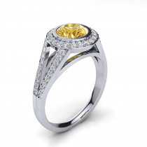 Unique Platinum Halo Yellow Diamond Engagement Ring 1.35ct