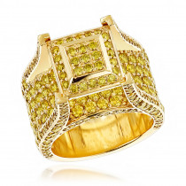 Unique Rings by Luxurman: 6ct Yellow Diamond Mens Ring 14K Yellow Rose White Gold