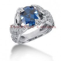 Unique Sapphire Engagement Ring with Diamonds 14K 1.98ctd 2cts