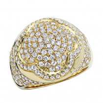Unique Statement Jewelry Luxurman 14k Gold Men's Diamond Ring 3.5 Carat