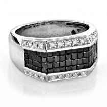 Unique Wedding Bands 14K Gold Men's White and Black Diamond Ring 2.52ct