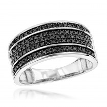 Unique Wedding Rings: 10K Gold 5 Row Black Diamond Wedding Band