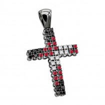 Unique White Black Diamonds and Ruby Cross Pendant 1.5ct 10K Gold