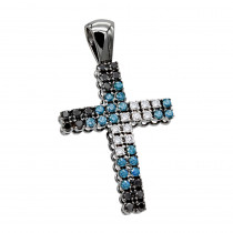 Unique White Blue Black Diamond Cross Pendant 1.5ct in 10K Black Gold