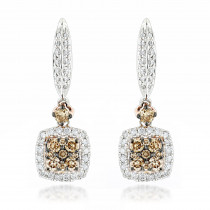 Unique White & Champagne Diamond Ladies Drop Earrings 1.04ct 14K Gold