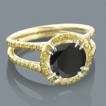 Unique Yellow and Black Diamond Engagement Ring 2.95ct 18K Gold