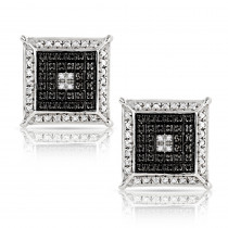 Unisex Diamond Stud Earrings 0.15ct White Gold Plated Sterling Silver