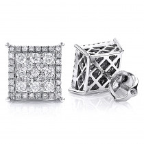 Unisex Square Stud Diamond Cluster Earrings 14K Gold 1.18ct