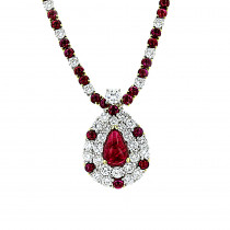 Vintage Estate Jewelry: 18K White Gold Ladies Diamond and Ruby Necklace
